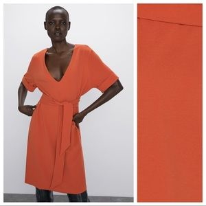 NWT. Zara Orange Textured V-neck Dress. Size L.